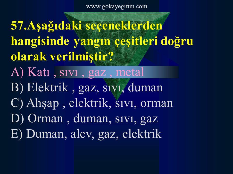 www.gokayegitim.com 58.Yangın söndürme prensipleri nelerdir.