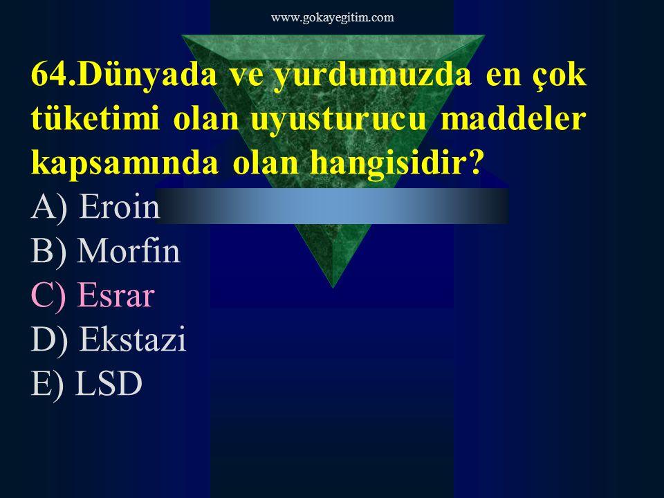 www.gokayegitim.com 65.Morfinden elde edilen uyuşturucu madde hangisidir.