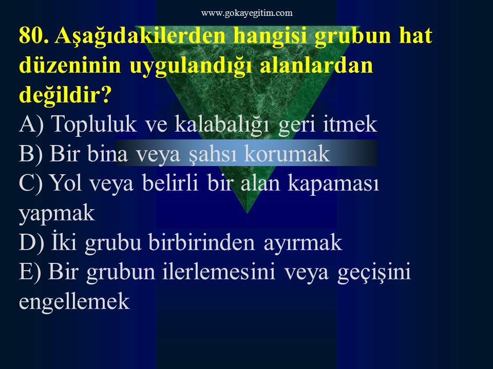 www.gokayegitim.com 81.Göz yaşartıcı gazların insanlar üzerindeki fizyolojik etkileri konusunda aşağıdakilerden hangisi söylenemez.
