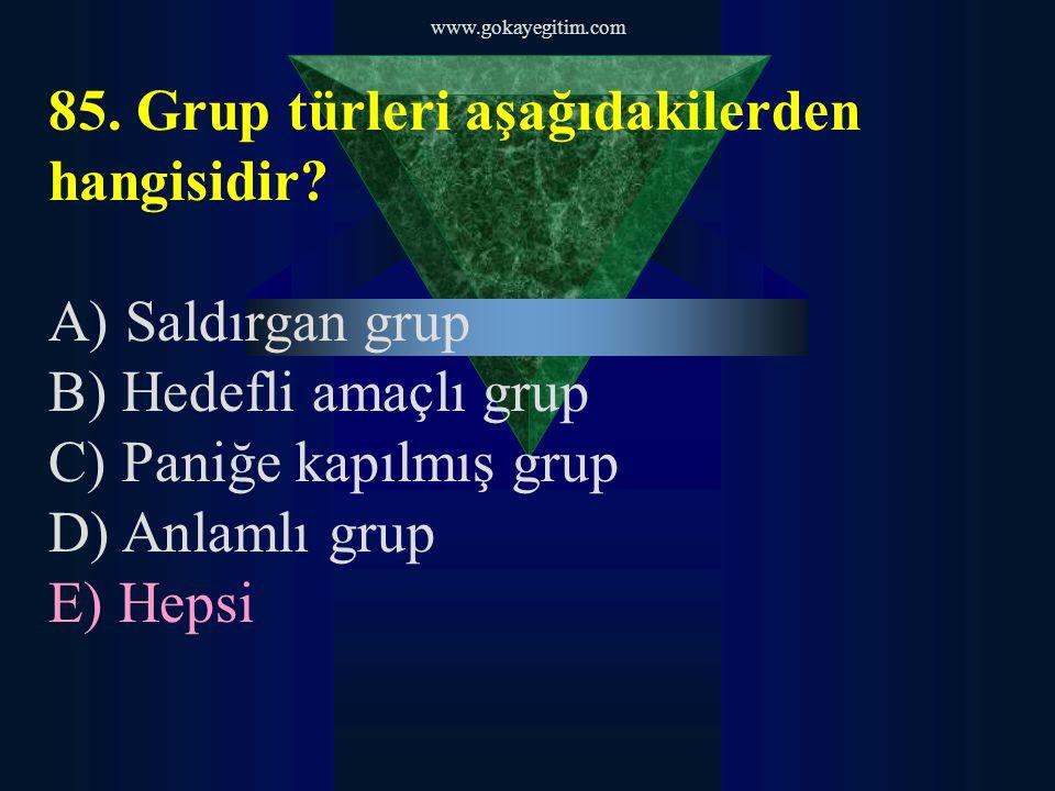 www.gokayegitim.com 86.Aşağıdakilerden hangisi saldırganlığın erken uyarı işaretlerinden biri değildir.