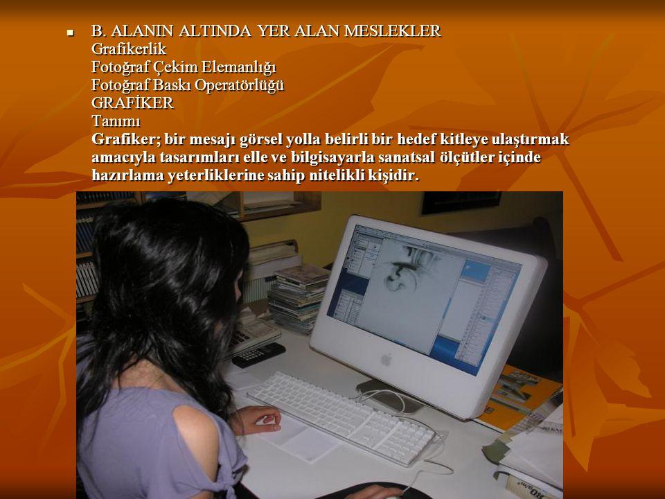  B. ALANIN ALTINDA YER ALAN MESLEKLER Grafikerlik Fotoğraf Çekim Elemanlığı Fotoğraf Baskı Operatörlüğü GRAFİKER Tanımı Grafiker; bir mesajı görsel y