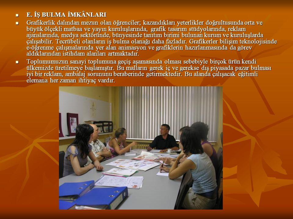  E. İŞ BULMA İMKÂNLARI  Grafikerlik dalından mezun olan öğrenciler; kazandıkları yeterlikler doğrultusunda orta ve büyük ölçekli matbaa ve yayın kur