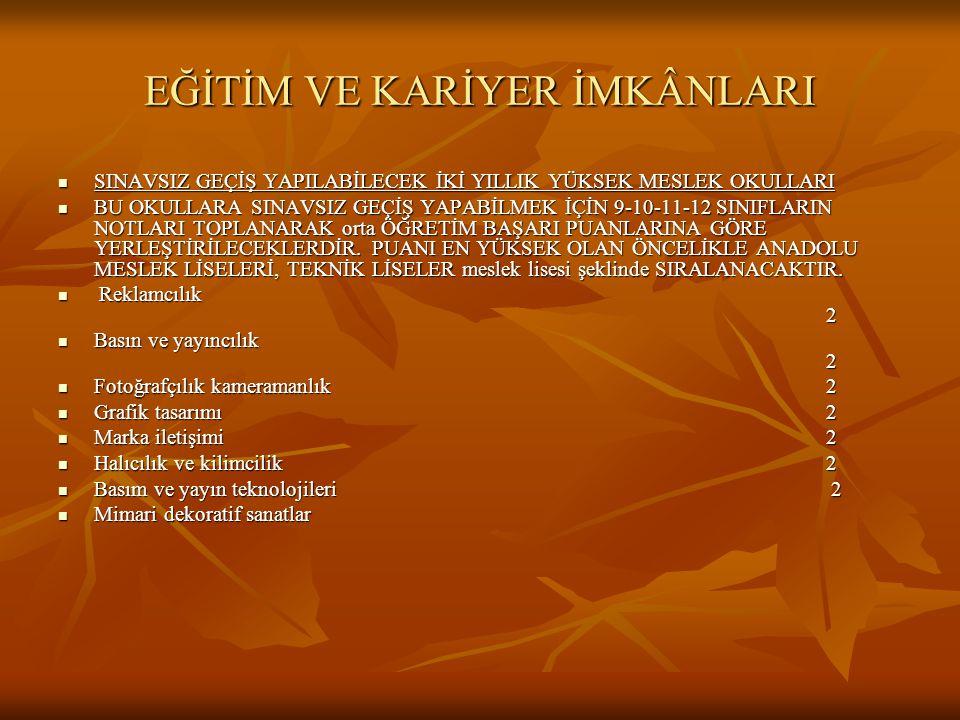 EĞİTİM VE KARİYER İMKÂNLARI  SINAVSIZ GEÇİŞ YAPILABİLECEK İKİ YILLIK YÜKSEK MESLEK OKULLARI  BU OKULLARA SINAVSIZ GEÇİŞ YAPABİLMEK İÇİN 9-10-11-12 S