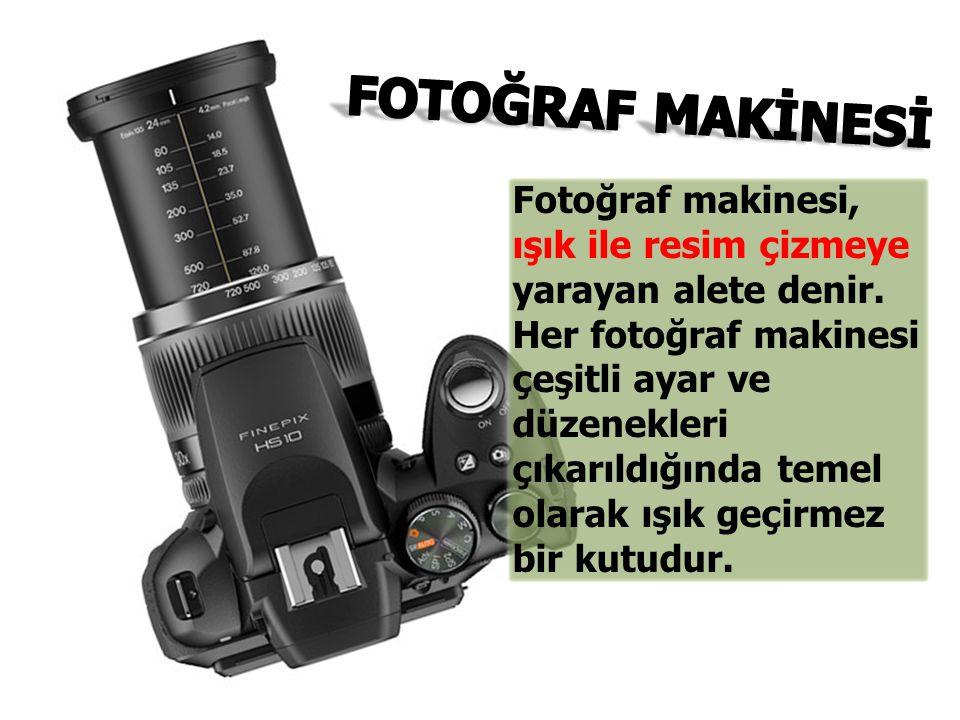 Fotoğraf makinesi, ışık ile resim çizmeye yarayan alete denir. Her fotoğraf makinesi çeşitli ayar ve düzenekleri çıkarıldığında temel olarak ışık geçi