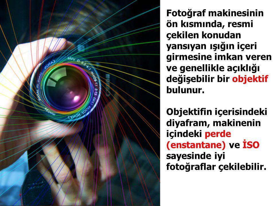 Fotoğraf makinesinin ön kısmında, resmi çekilen konudan yansıyan ışığın içeri girmesine imkan veren ve genellikle açıklığı değişebilir bir objektif bu