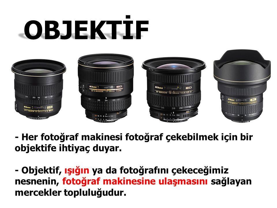 - Her fotoğraf makinesi fotoğraf çekebilmek için bir objektife ihtiyaç duyar. - Objektif, ışığın ya da fotoğrafını çekeceğimiz nesnenin, fotoğraf maki