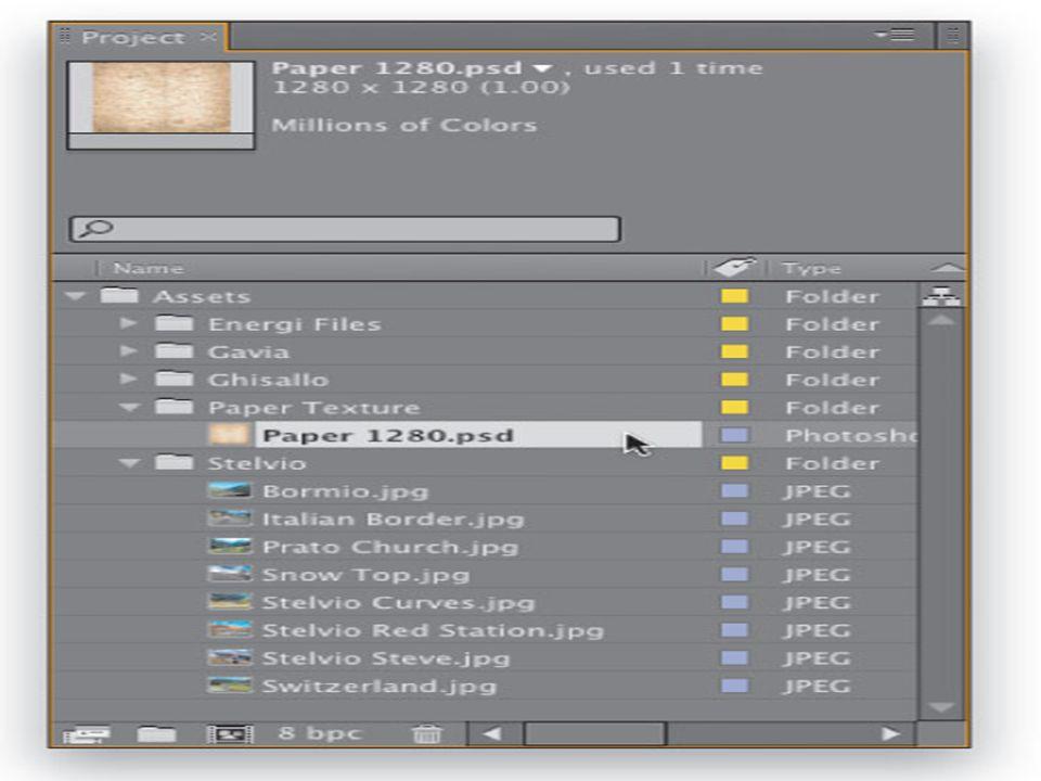 Asama 1 • After Effects, Proje panelinde çift tıklayın, ardından Al Dosyası iletişim kullanmak istediğiniz görüntüleri alabilirsiniz.
