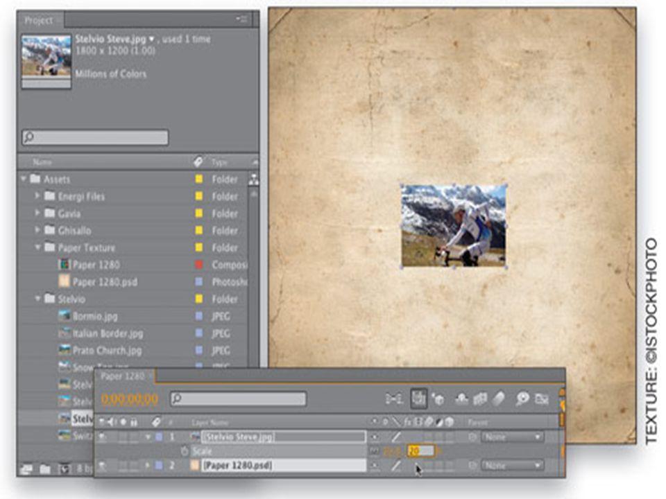 Asama 2 • (bizimki paper 1280.psd ) arka plan doku görüntü seçin ve Proje panelinin altındaki Yeni Kompozisyon simge oluşturma üzerine sürükleyin.
