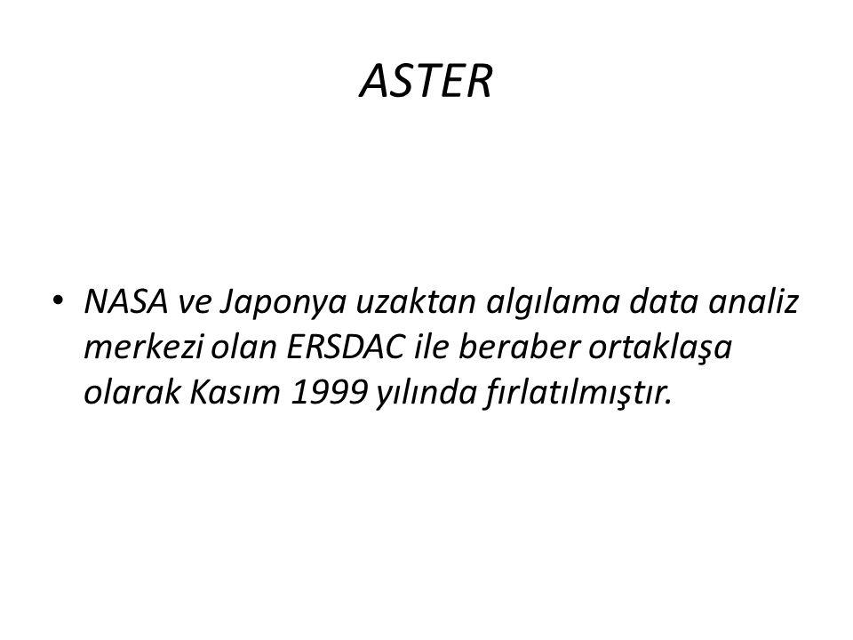 ASTER • NASA ve Japonya uzaktan algılama data analiz merkezi olan ERSDAC ile beraber ortaklaşa olarak Kasım 1999 yılında fırlatılmıştır.