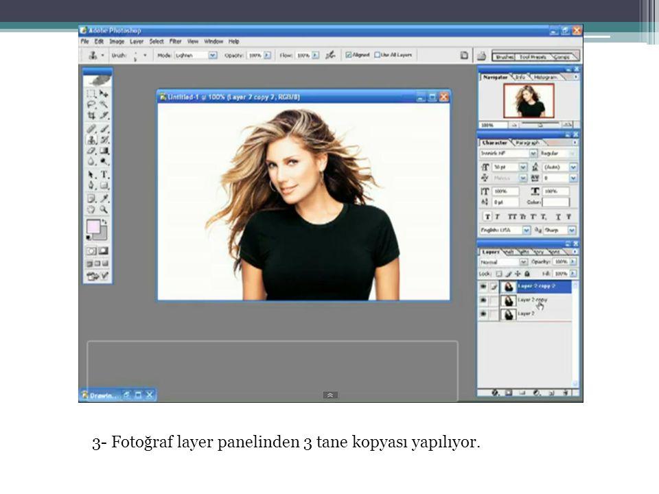 3- Fotoğraf layer panelinden 3 tane kopyası yapılıyor.