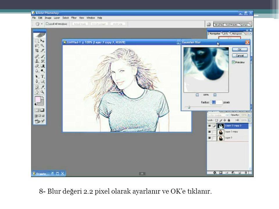 8- Blur değeri 2.2 pixel olarak ayarlanır ve OK'e tıklanır.