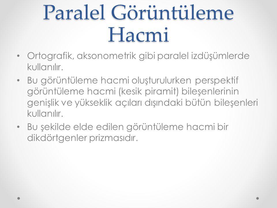 Paralel Görüntüleme Hacmi • Ortografik, aksonometrik gibi paralel izdüşümlerde kullanılır.