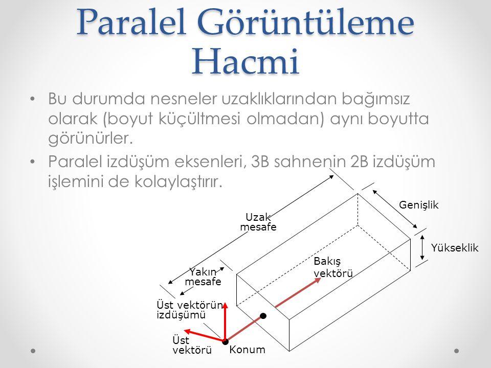 Paralel Görüntüleme Hacmi • Bu durumda nesneler uzaklıklarından bağımsız olarak (boyut küçültmesi olmadan) aynı boyutta görünürler.