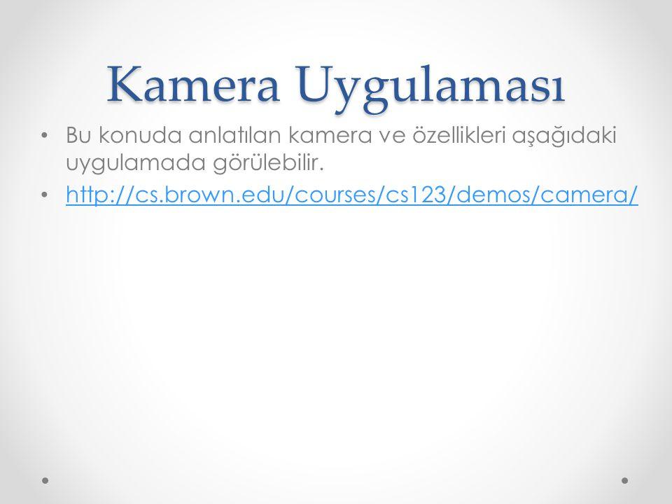 Kamera Uygulaması • Bu konuda anlatılan kamera ve özellikleri aşağıdaki uygulamada görülebilir.