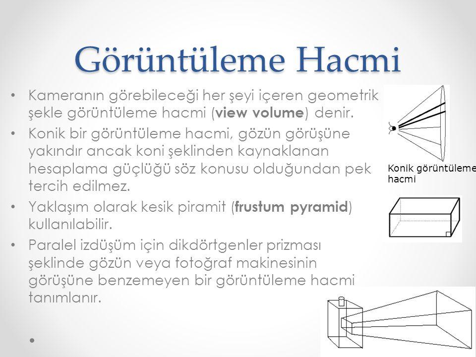 Görüntüleme Hacmi • Kameranın görebileceği her şeyi içeren geometrik şekle görüntüleme hacmi ( view volume ) denir.