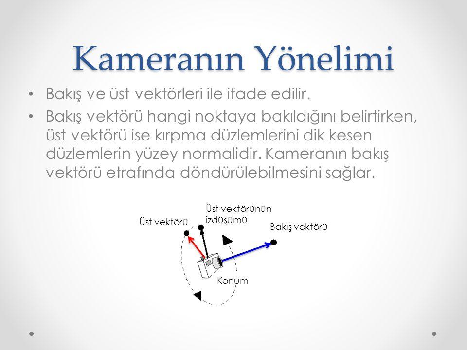 Kameranın Yönelimi • Bakış ve üst vektörleri ile ifade edilir.