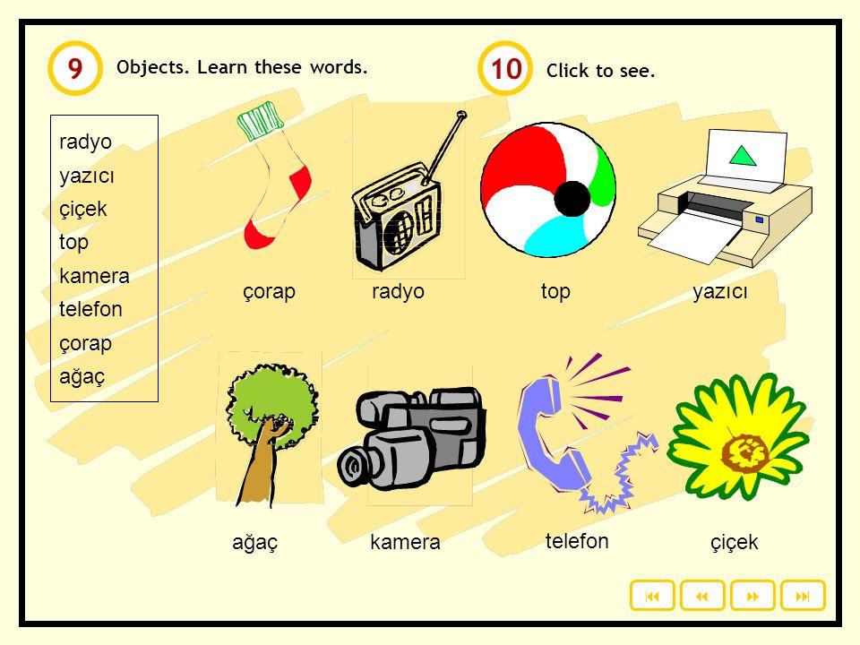 Click to see. mont masa kitap televizyon cep telefonu şapka gazete gözlük Objects. Learn these words. masaşapkagazetemont televizyoncep telefonukitapg