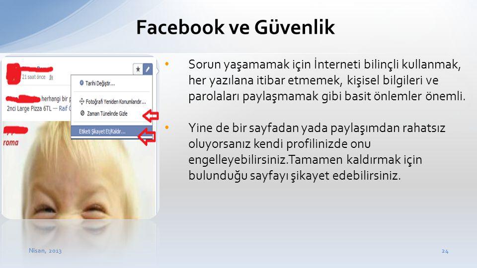 Nisan, 201324 Facebook ve Güvenlik • Sorun yaşamamak için İnterneti bilinçli kullanmak, her yazılana itibar etmemek, kişisel bilgileri ve parolaları p