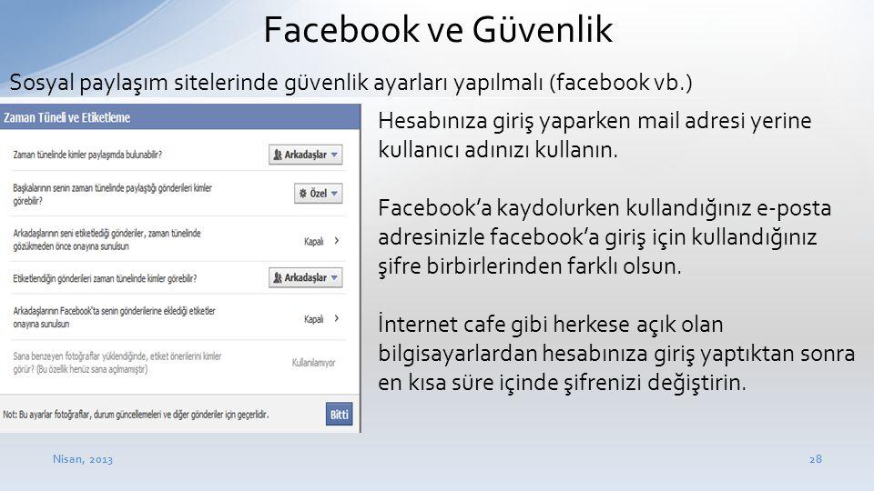 Nisan, 201328 Facebook ve Güvenlik • Hesabınıza giriş yaparken mail adresi yerine kullanıcı adınızı kullanın. • Facebook'a kaydolurken kullandığınız e