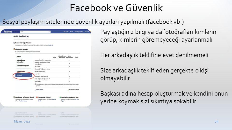 Nisan, 201329 Facebook ve Güvenlik • Paylaştığınız bilgi ya da fotoğrafları kimlerin görüp, kimlerin göremeyeceği ayarlanmalı • Her arkadaşlık teklifi
