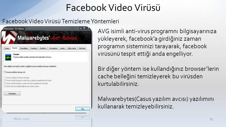 Nisan, 201335 Facebook Video Virüsü • AVG isimli anti-virus programnı bilgisayarınıza yükleyerek, facebook'a girdiğiniz zaman programın sisteminizi ta