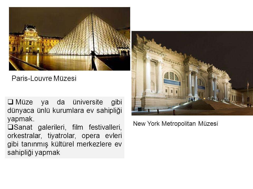New York Metropolitan Müzesi Paris-Louvre Müzesi  Müze ya da üniversite gibi dünyaca ünlü kurumlara ev sahipliği yapmak.