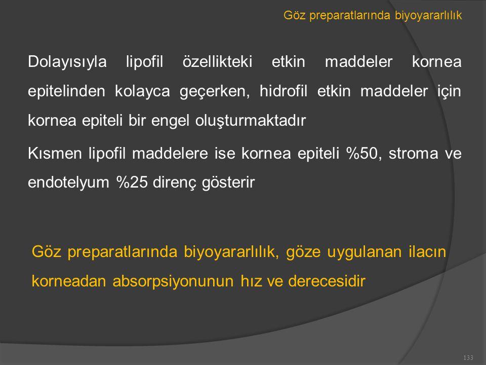 Göz preparatlarında biyoyararlılık Dolayısıyla lipofil özellikteki etkin maddeler kornea epitelinden kolayca geçerken, hidrofil etkin maddeler için kornea epiteli bir engel oluşturmaktadır Kısmen lipofil maddelere ise kornea epiteli %50, stroma ve endotelyum %25 direnç gösterir 133 Göz preparatlarında biyoyararlılık, göze uygulanan ilacın korneadan absorpsiyonunun hız ve derecesidir