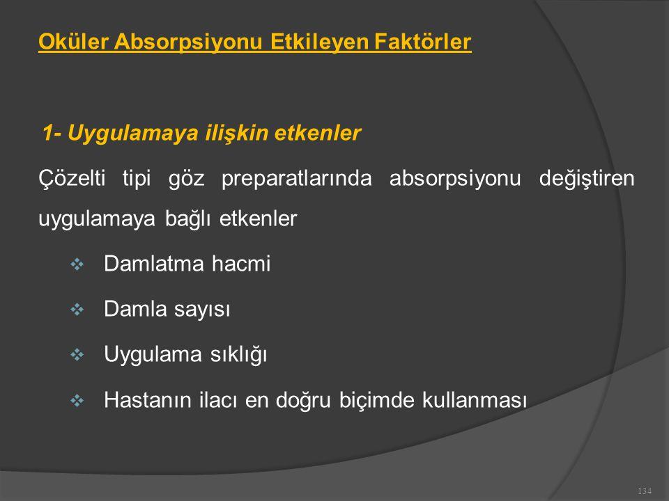 Oküler Absorpsiyonu Etkileyen Faktörler 1- Uygulamaya ilişkin etkenler Çözelti tipi göz preparatlarında absorpsiyonu değiştiren uygulamaya bağlı etkenler  Damlatma hacmi  Damla sayısı  Uygulama sıklığı  Hastanın ilacı en doğru biçimde kullanması 134