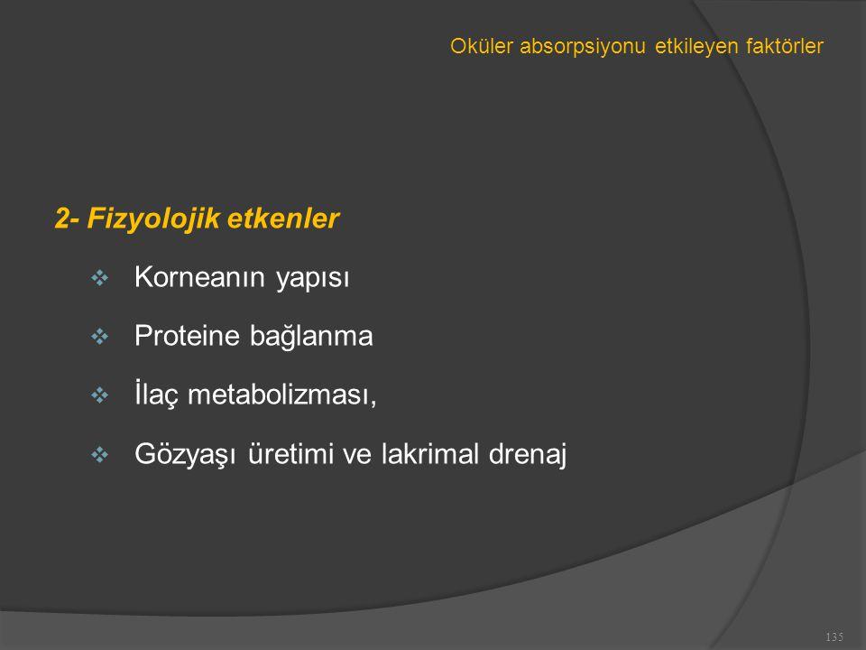 Oküler absorpsiyonu etkileyen faktörler 2- Fizyolojik etkenler  Korneanın yapısı  Proteine bağlanma  İlaç metabolizması,  Gözyaşı üretimi ve lakrimal drenaj 135