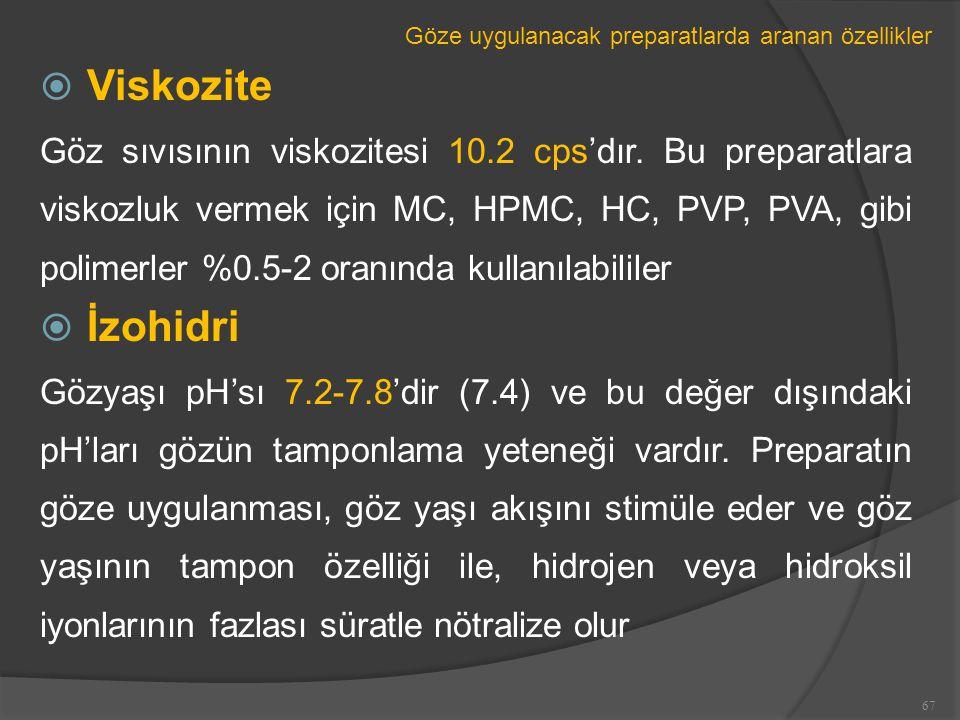 Göze uygulanacak preparatlarda aranan özellikler  Viskozite Göz sıvısının viskozitesi 10.2 cps'dır.
