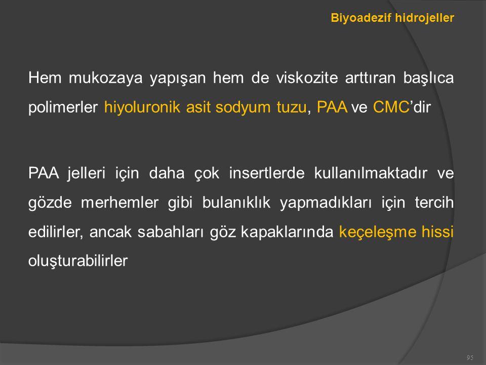 Biyoadezif hidrojeller Hem mukozaya yapışan hem de viskozite arttıran başlıca polimerler hiyoluronik asit sodyum tuzu, PAA ve CMC'dir PAA jelleri için daha çok insertlerde kullanılmaktadır ve gözde merhemler gibi bulanıklık yapmadıkları için tercih edilirler, ancak sabahları göz kapaklarında keçeleşme hissi oluşturabilirler 95