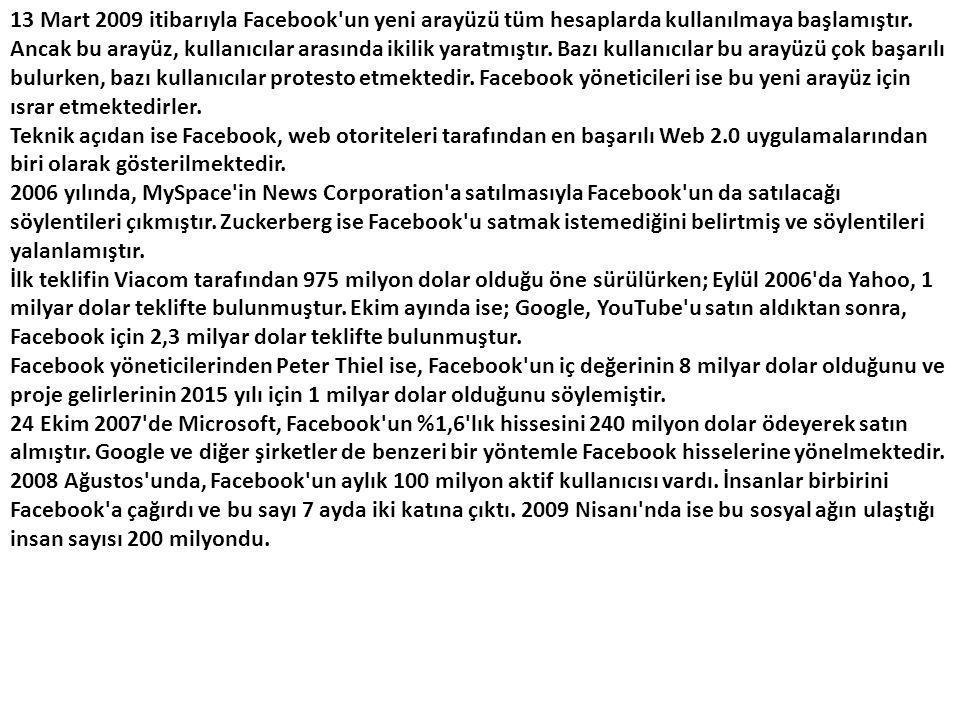 13 Mart 2009 itibarıyla Facebook un yeni arayüzü tüm hesaplarda kullanılmaya başlamıştır.