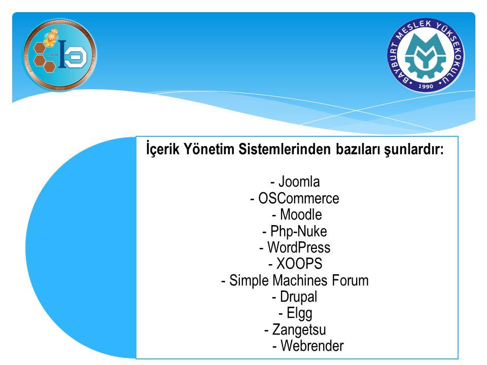 İçerik Yönetim Sistemlerinden bazıları şunlardır: - Joomla - OSCommerce - Moodle - Php-Nuke - WordPress - XOOPS - Simple Machines Forum - Drupal - Elg