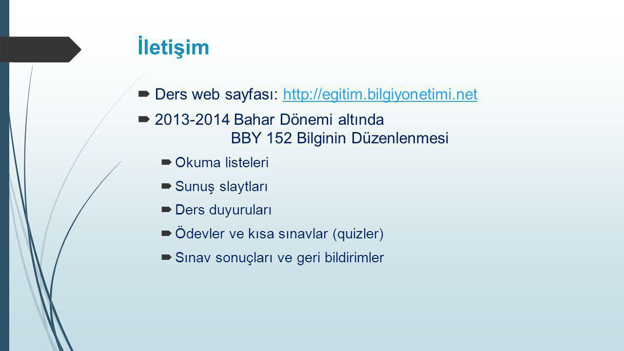 İletişim  Ders web sayfası: http://egitim.bilgiyonetimi.nethttp://egitim.bilgiyonetimi.net  2013-2014 Bahar Dönemi altında BBY 152 Bilginin Düzenlen