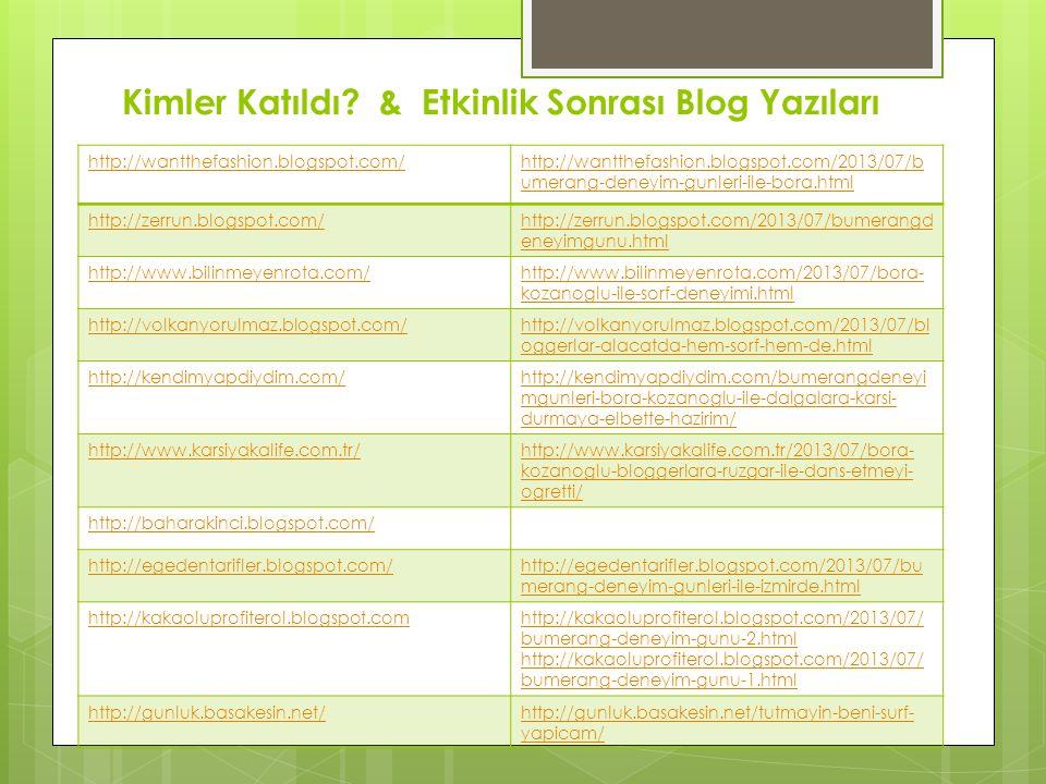 Kimler Katıldı? & Etkinlik Sonrası Blog Yazıları http://wantthefashion.blogspot.com/http://wantthefashion.blogspot.com/2013/07/b umerang-deneyim-gunle