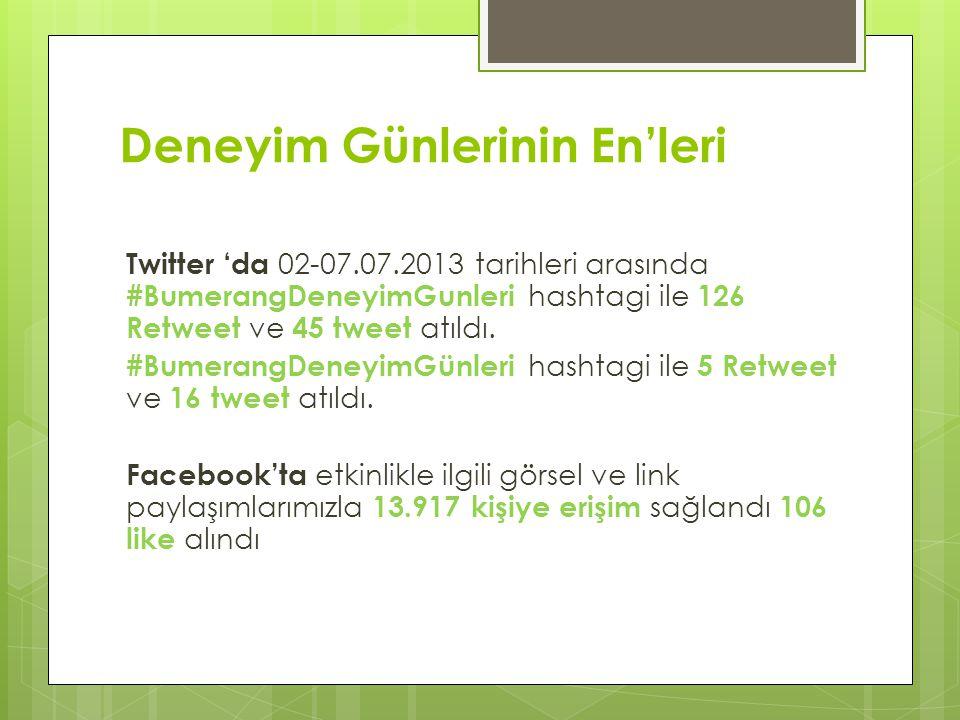 Deneyim Günlerinin En'leri Twitter 'da 02-07.07.2013 tarihleri arasında #BumerangDeneyimGunleri hashtagi ile 126 Retweet ve 45 tweet atıldı. #Bumerang