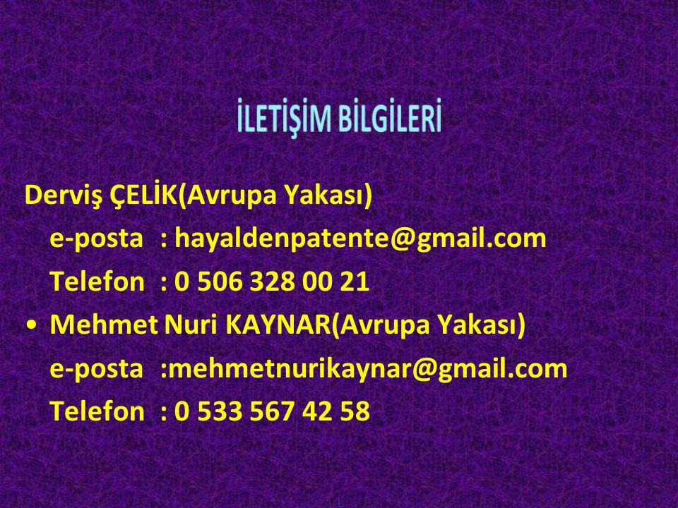 L Derviş ÇELİK(Avrupa Yakası) e-posta : hayaldenpatente@gmail.com Telefon: 0 506 328 00 21 •Mehmet Nuri KAYNAR(Avrupa Yakası) e-posta :mehmetnurikayna