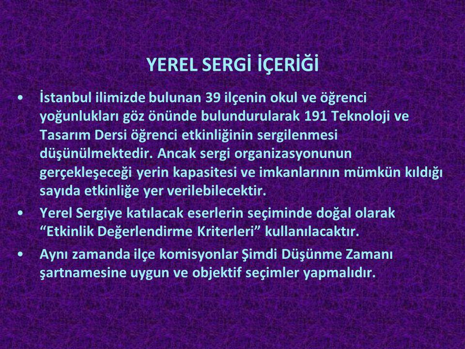 YEREL SERGİ İÇERİĞİ •İstanbul ilimizde bulunan 39 ilçenin okul ve öğrenci yoğunlukları göz önünde bulundurularak 191 Teknoloji ve Tasarım Dersi öğrenc