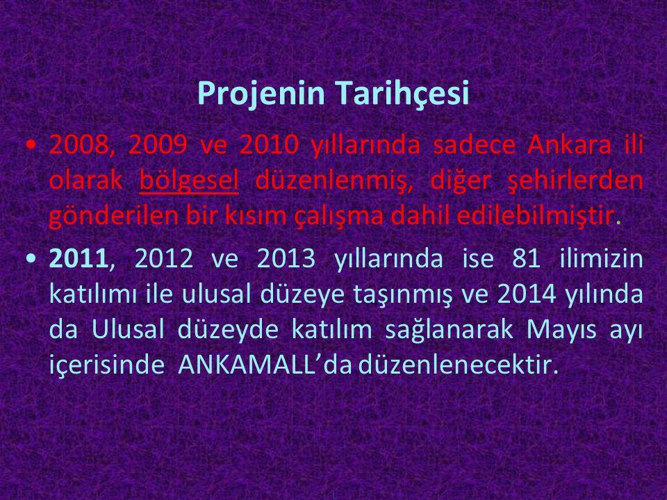 Projenin Tarihçesi •2008, 2009 ve 2010 yıllarında sadece Ankara ili olarak bölgesel düzenlenmiş, diğer şehirlerden gönderilen bir kısım çalışma dahil