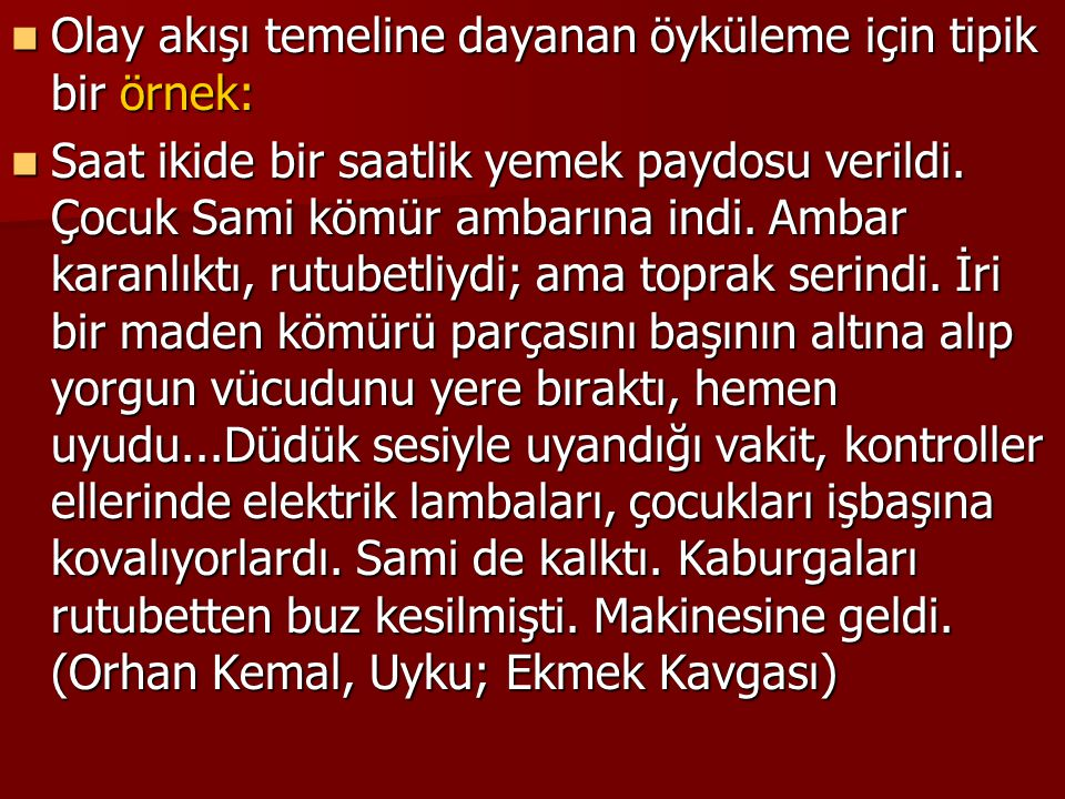 İşte açıklama örneği paragraflar:  Kemal Bilbaşar, ilk romanını 1943 yılında yayımlamış ise de roman türündeki çalışmalarını 1960 yılından sonra yoğunlaştırmıştır.