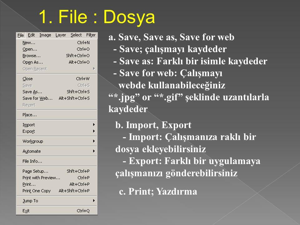 MENÜ 1. File 2. Edit3. Image4. Layer 5. Filter 6. View 7.Windows