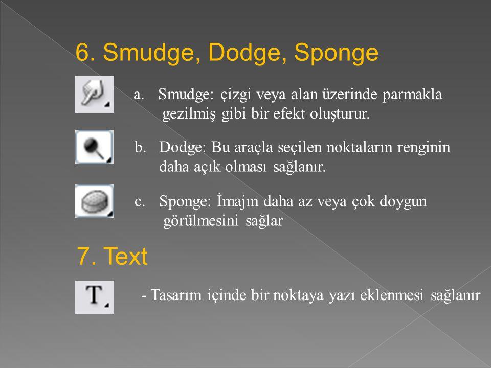 4. Erase - Bu araç seçildikten sonra çalışma üzerinde ki herhangi bir noktayı silebiliriz. 5. Clone Stamp, Pattern Stamp a.Clone Stamp: Bir kısmı seçm