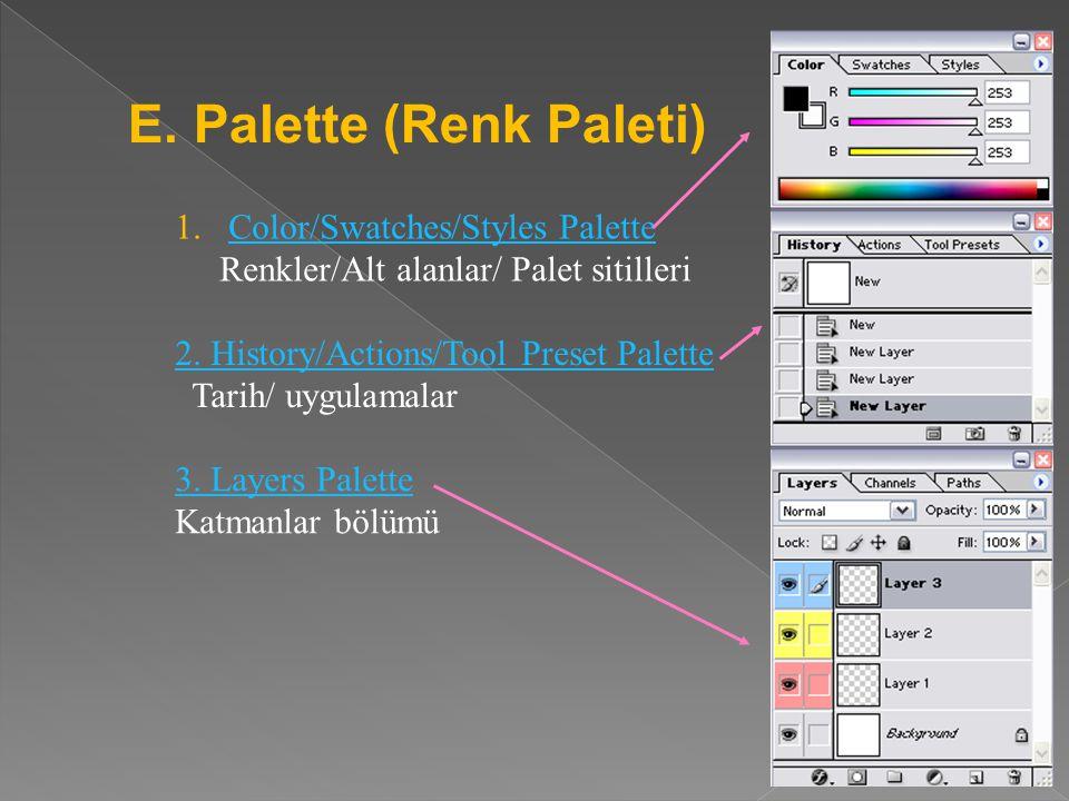 8. Set foreground/background color -Foreground color: Brush gibi araçlarla -yapabileceğimiz boya işinin rengini belirler. -Üstteki renk) -Background c