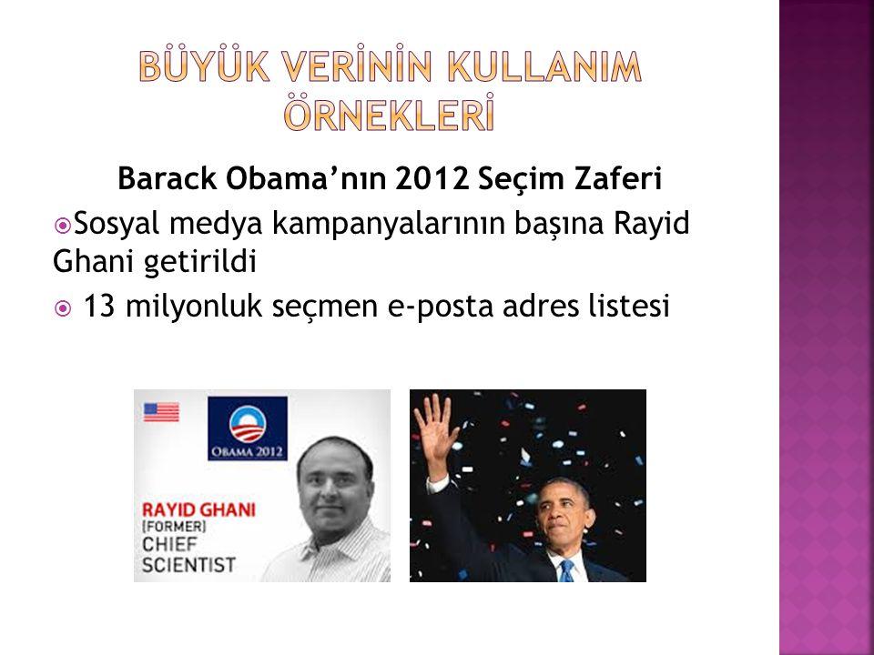 Barack Obama'nın 2012 Seçim Zaferi  Sosyal medya kampanyalarının başına Rayid Ghani getirildi  13 milyonluk seçmen e-posta adres listesi