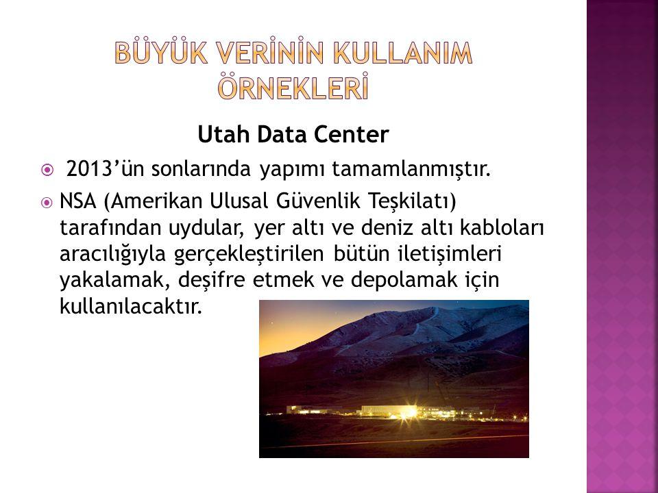 Utah Data Center  2013'ün sonlarında yapımı tamamlanmıştır.