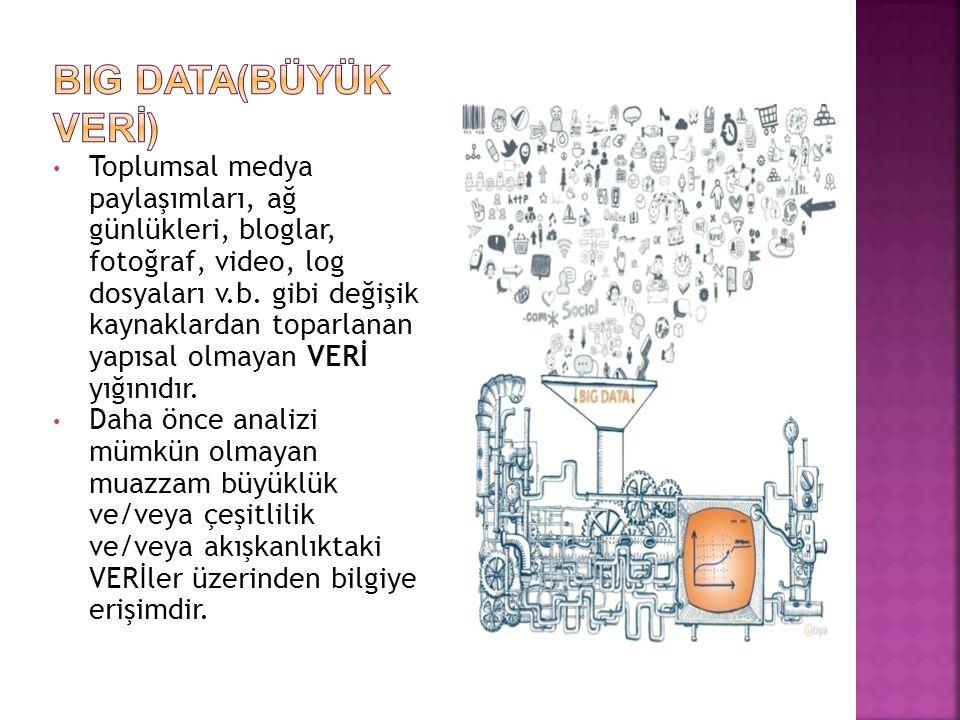 • Toplumsal medya paylaşımları, ağ günlükleri, bloglar, fotoğraf, video, log dosyaları v.b.