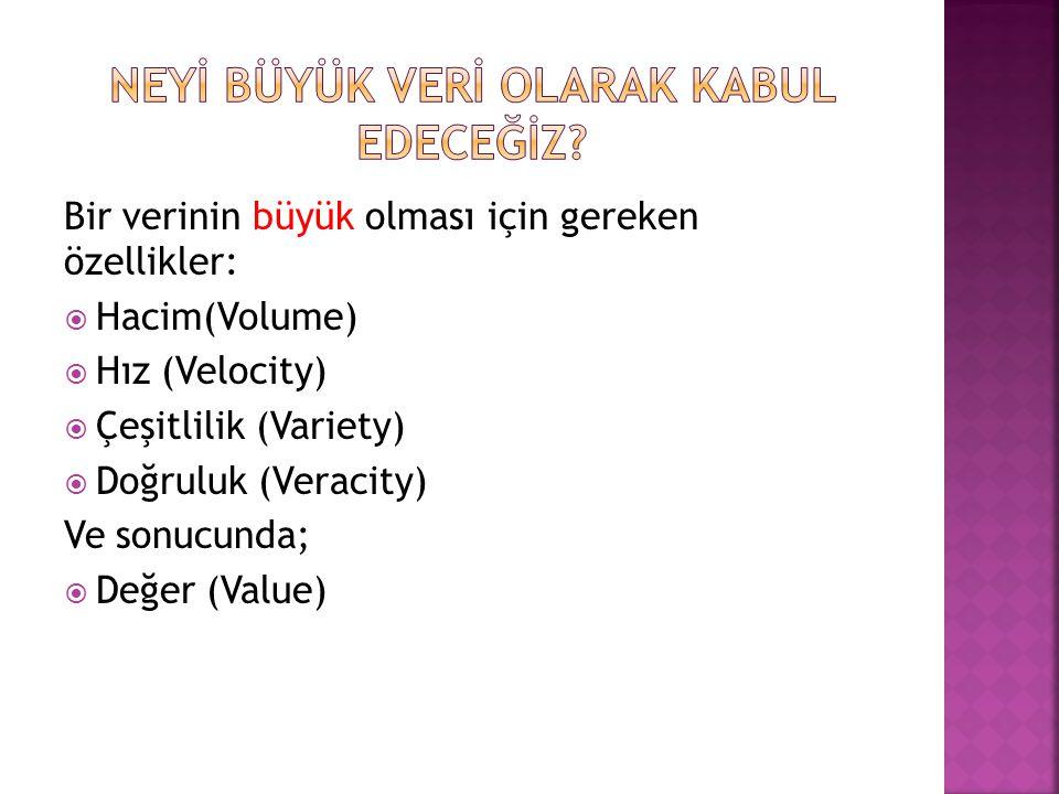 Bir verinin büyük olması için gereken özellikler:  Hacim(Volume)  Hız (Velocity)  Çeşitlilik (Variety)  Doğruluk (Veracity) Ve sonucunda;  Değer (Value)