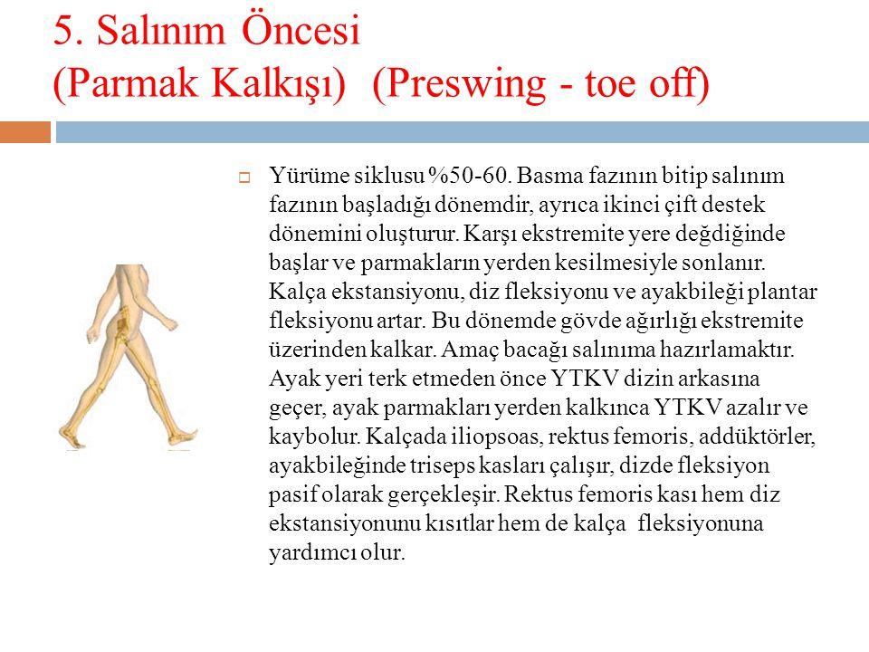 5.Salınım Öncesi (Parmak Kalkışı) (Preswing - toe off)  Yürüme siklusu %50-60.