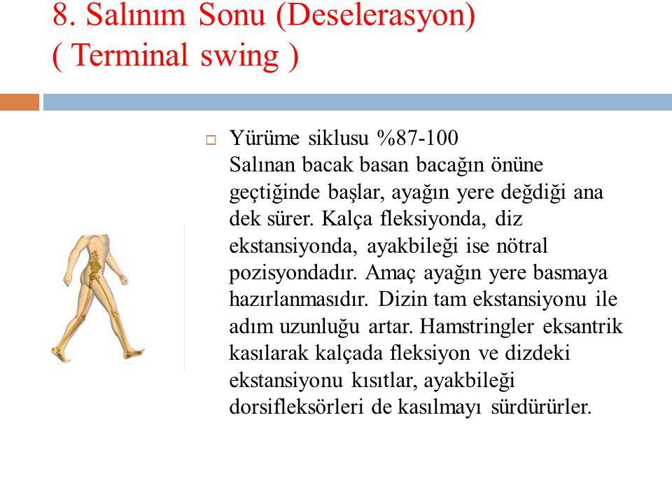 8. Salınım Sonu (Deselerasyon) ( Terminal swing )  Yürüme siklusu %87-100 Salınan bacak basan bacağın önüne geçtiğinde başlar, ayağın yere değdiği an