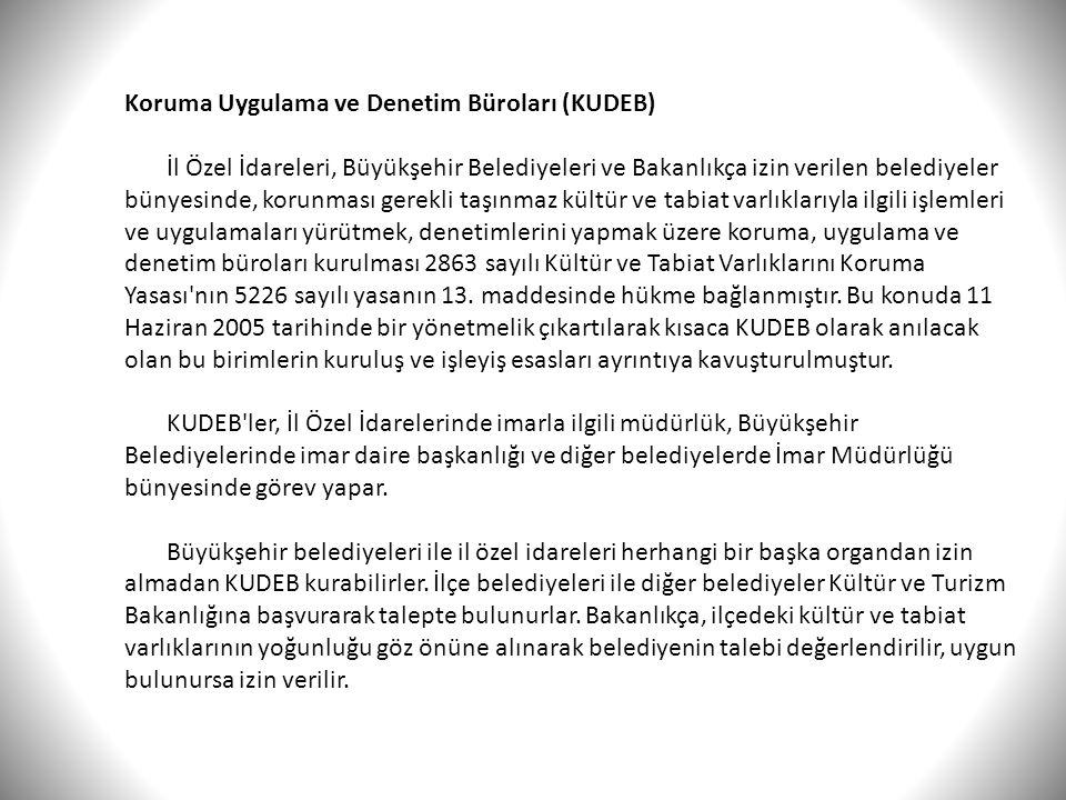 Koruma Uygulama ve Denetim Büroları (KUDEB) İl Özel İdareleri, Büyükşehir Belediyeleri ve Bakanlıkça izin verilen belediyeler bünyesinde, korunması ge